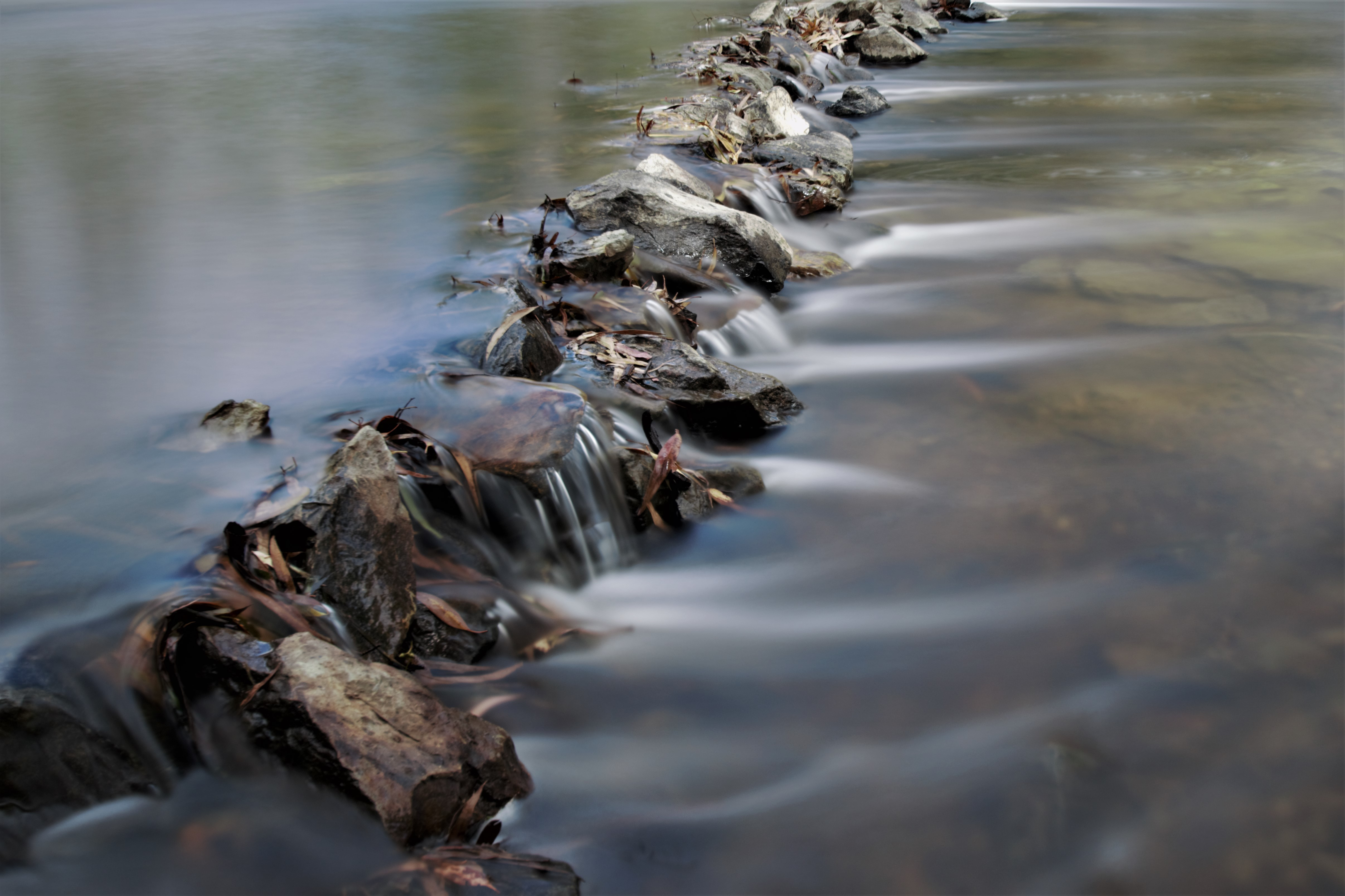 Water flowing over rocks in a river