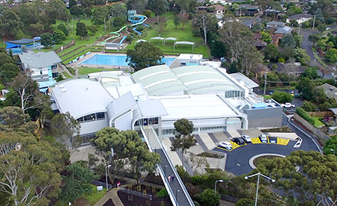 Aerial Photo of the Aquarena Aquatic and leisure Centre
