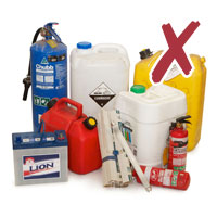 Photo of various used chemical containers hazardous waste with cross