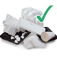 Photo of various polysterene used items with tick