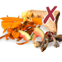 Photo of various food waste with cross