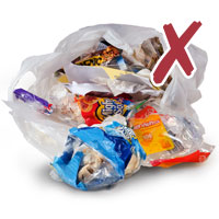 Photo of household garbage in plastic bag with cross