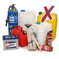 Photo of various hazardous chemical containers, batteries with cross