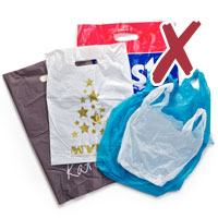photo of various plastic bags with cross