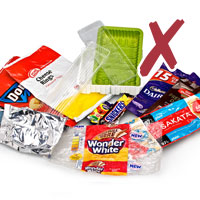 photo of various soft plastic wrappers packaging with cross