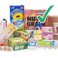 photo of various cardboard cereal boxes and egg cartons with tick