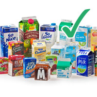 photo of various milk and juice cartons with tick