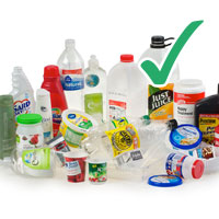 Photo of various plastic bottles and containers with tick