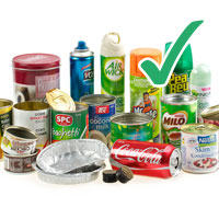 Photo of various household aluminium cans containers with tick