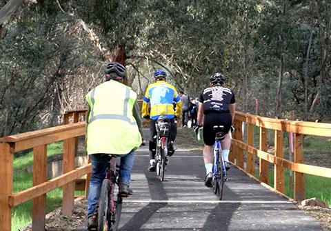 Photo of three cyclists on Mullum Mullum Trail