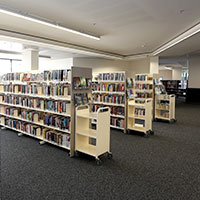Books of shelves at Doncaster Library