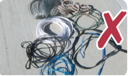 Picture of NO bundles tied with wire, plastic string or ties, stocking or other non-organic material