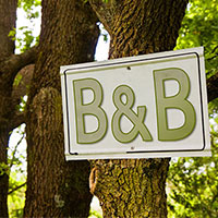 BNB sign stuck to tree