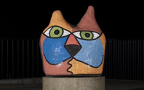 Deborah Halpern's Big Cat Sculpture at the Maningham City Square Civic Plaza