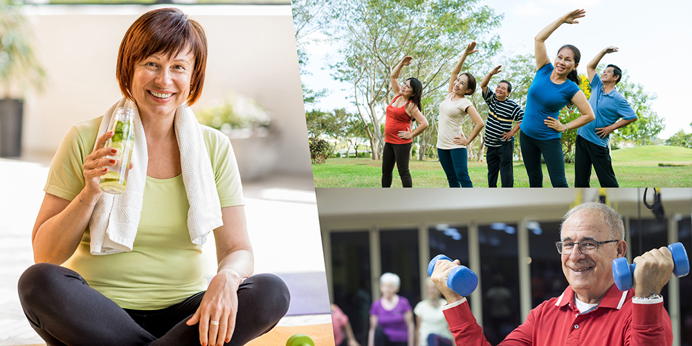 groups of older people exercising