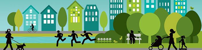 Graphics showing people walking through the community