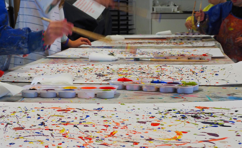 children creating splash painting art