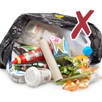 picture of household rubbish in a garbage bag with cross