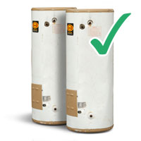 picture of two user hot water containers with tick