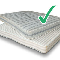 picture of two mattresses stacked with tick
