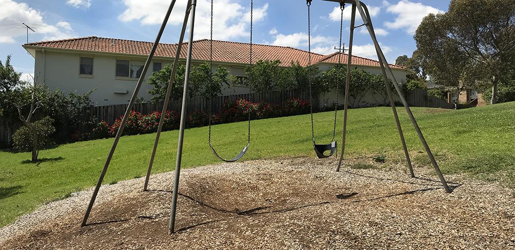 swing set at Iron Bark Reserve
