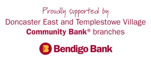 The words Proudly supported by Doncaster East and Templestowe Village Community Bank branches Bendigo Bank