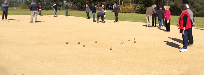 Senior citizens playing Petanque at DISC