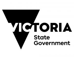 Black V shape with the words Victoria State Government in black lettering