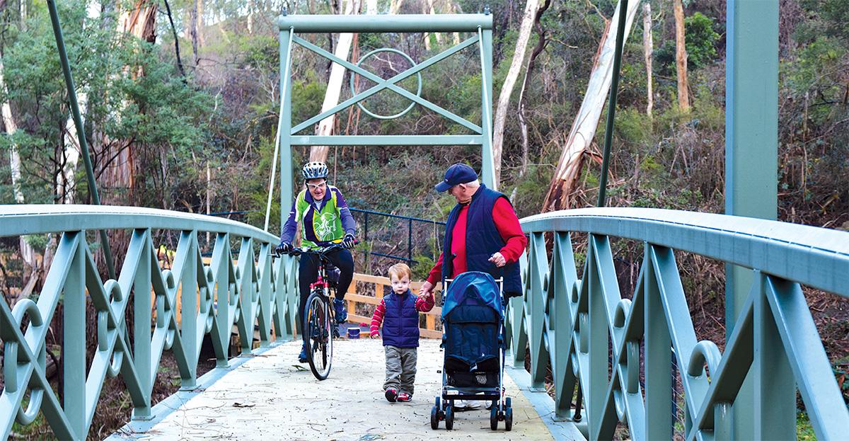 People crossing a bridge on the mullum mullum trail