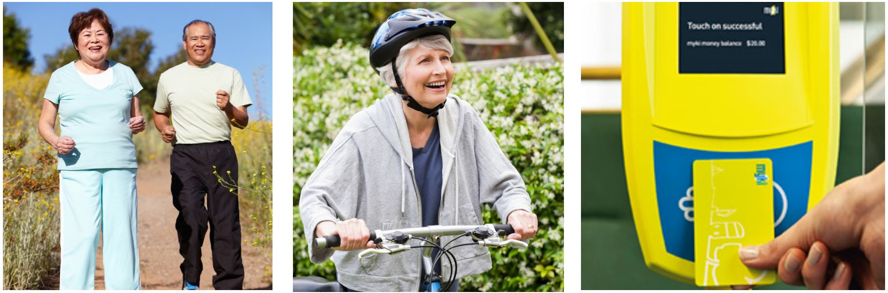 An elderly couple walking and smiling, a lady riding a bicycle, closeup of a myki card